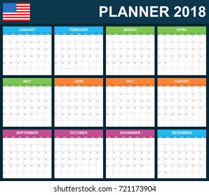 USA Planner blank for 2018. Scheduler, agenda or diary template. Week starts on Sunday.
