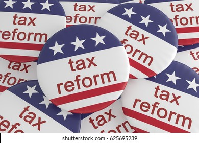 USA Politics News Badge: Pile of Tax Reform Buttons With US Flag, 3d illustration