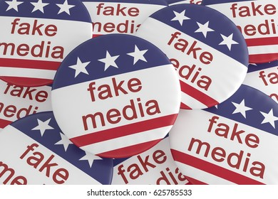 USA Politics News Badge: Pile of Fake Media Buttons With US Flag, 3d illustration