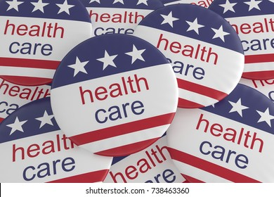 USA Politics News Badge: Pile of Health Care Buttons With US Flag, 3d illustration