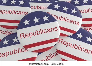 USA Politics News Badge: Pile of Republicans Buttons With US Flag, 3d illustration