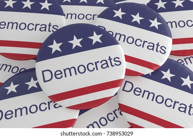 USA Politics News Badge: Pile of Democrats Buttons With US Flag, 3d illustration