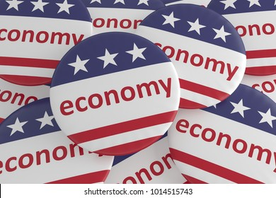 USA Politics News Badges: Pile of Economy Buttons With US Flag, 3d illustration