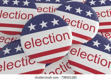 USA Politics News Badges: Pile of Election Buttons With US Flag, 3d illustration