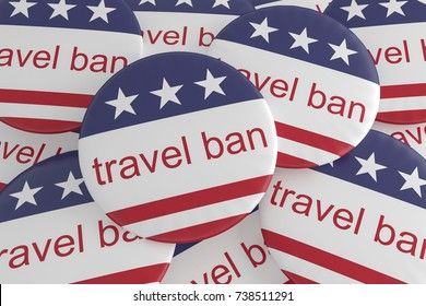 USA Politics News Badges: Pile of Travel Ban Buttons With US Flag, 3d illustration