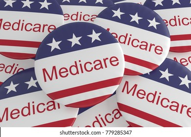 USA Politics News Badges: Pile of Medicare Buttons With US Flag, 3d illustration