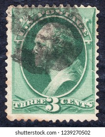 USA postage stamp – circa 1873   3c  -  Washington  -  green