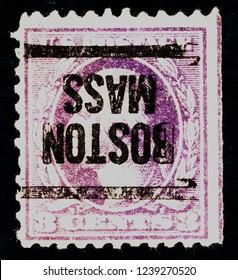 USA postage stamp – circa 1918  3c  -  Washington  -  Boston Mass postmark