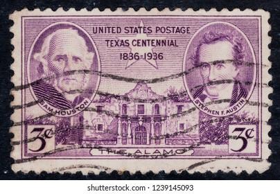 USA postage stamp – circa 1936  3c  -  The Alamo  - Texas Centennial  -  Houston Austin