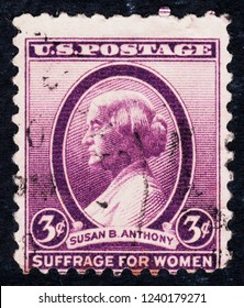 USA postage stamp  circa 1936  3c  -  Susan B Anthony -  Suffrage for women