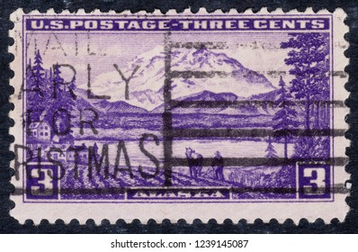 USA postage stamp – circa 1937  3c  -  Alaska