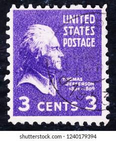 USA postage stamp  circa 1938  3c  - Thomas Jefferson