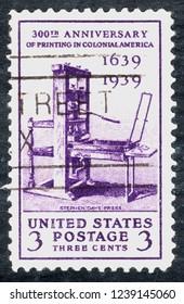 USA postage stamp – circa 1939  3c  -  Printing 300th anniversary  - stephen dave press