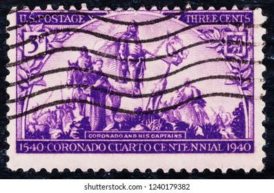 USA postage stamp  circa 1940  3c  -  Coronado and his captains