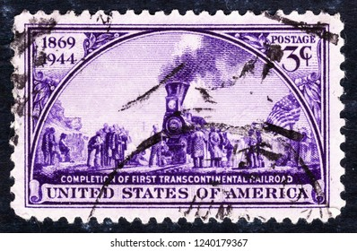 USA postage stamp  circa  1944  3c  -   Completion of first transcontinental railroad