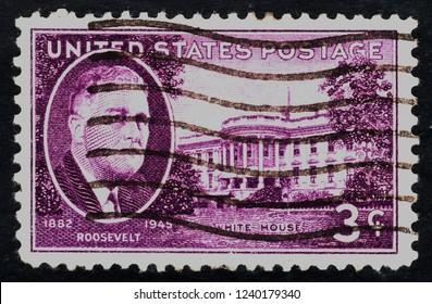 USA postage stamp  circa  1945  3c  -  White house  -  Roosevelt