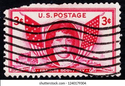 USA postage stamp  circa 1948  3c  -  Francis Scott Key  -  Fort Mchenry  -  old key home