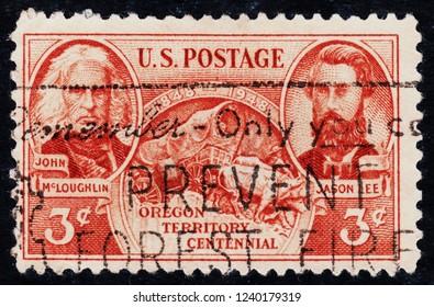 USA postage stamp  circa 1948  3c  -  Oregon Territory Centennial  -   John Mcgloughlin  -  Jason Lee