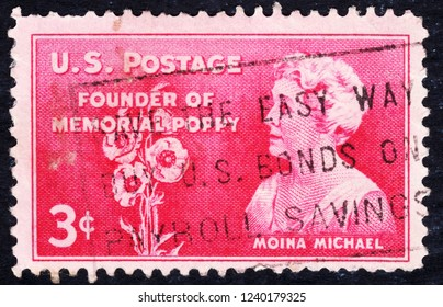 USA postage stamp  circa 1948  3c  -  Moina Michael  -  Founder of memorial poppy