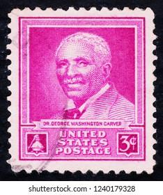 USA postage stamp  circa 1948  3c  -  Dr George Washington Carver