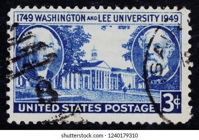 USA postage stamp  circa 1949  3c  -  Washington and Lee university