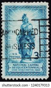 USA postage stamp  circa 1950  3c  -  Washington  -  National Capital sesquicentennial