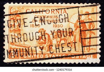 USA postage stamp  circa 1950  3c  -  California  -  centennial of statehood