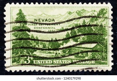 USA postage stamp  circa 1951  3c  -  First settlement centennial  -  Nevada