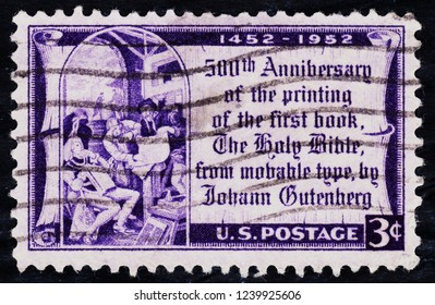 USA postage stamp  circa 1952  3c  -  500th anniversary of the printing of the first book  -  The Holy Bible  -  Johann Gutenberg
