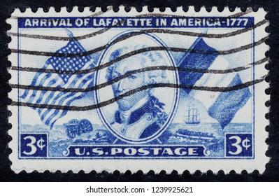 USA postage stamp  circa 1952  3c  -  Arrival of La Fayette in America