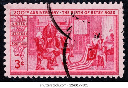 USA postage stamp  circa 1952  3c  -  The birth of Betsy Ross  -  200th anniversary