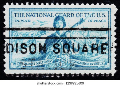 USA postage stamp  circa 1953  3c  -  The National Guard of the US  -  In Peace  In war  -  The oldest military organization in the US