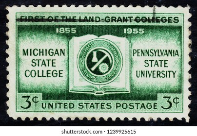 USA postage stamp  circa 1955  3c  -  First of the land grant colleges - Michigan state college  -  Pennsylvania state university