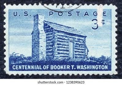 USA postage stamp – circa 1956  3c  -  Centennial of Booker T Washington