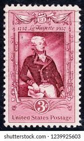 USA postage stamp  circa 1957  3c  -  La Fayette