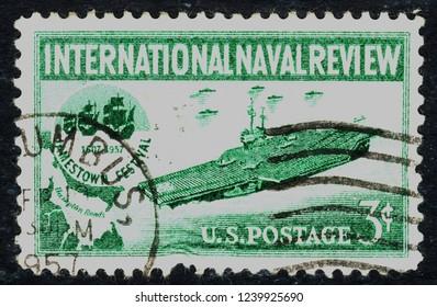 USA postage stamp  circa 1957  3c  -  International Naval Review  -  Jamestown festival