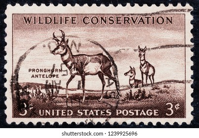 USA postage stamp  circa 1957  3c  -  Widlife conservation  -  pronghorn antelope