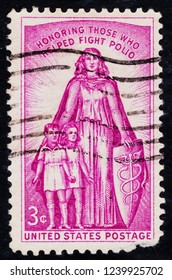 USA postage stamp  circa 1957  3c  -  Honouring those who helped fight polio