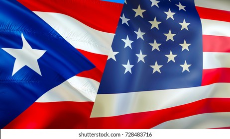 USA and Puerto Rico flags. 3D Waving flag design USA Puerto Rico, USA Puerto Rico flag,  pictures, wallpaper, image. USA Puerto Rico relations concept.The national flag United States of America image