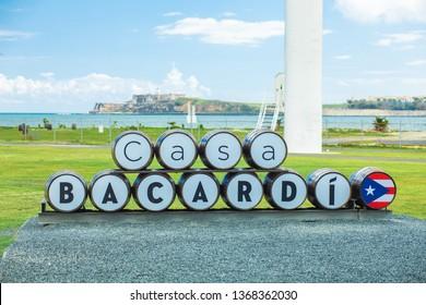 USA. PUERTO RICO. SAN JUAN. APRIL 2019: Bacardi Distillery Entry.