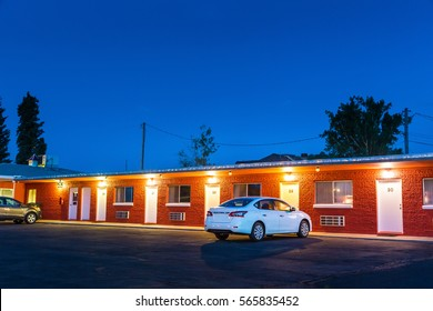 USA roadside motel in the night.