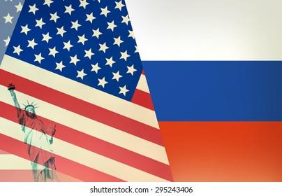 USA Russia Flag