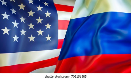 USA and Russia flags. 3D Waving flag design. USA Russia flag, pictures, wallpaper,USA Russia image. US Russian relations war alliance concept. conflict cold war concept