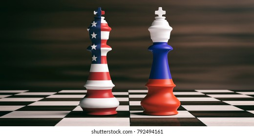 USA and Russia relations, cooperation strategy. US America and Russia flags on chess kings on a chess board, brown wooden background. 3d illustration