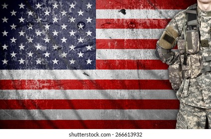 USA soldier on a american flag background