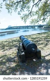 USA, South Carolina, Beaufort, waterfront park and Woods Memorial Bridge