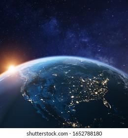 États-Unis de l'espace la nuit avec les lumières des villes américaines aux États-Unis, au Mexique et au Canada, vue d'ensemble de l'Amérique du Nord, rendu 3d de la planète Terre, éléments de la NASA