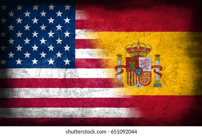 USA and Spain flag, with grunge metal texture