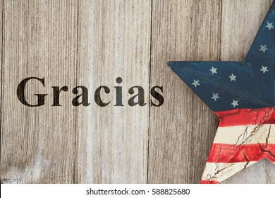 USA Spanish thank you message, USA patriotic old flag on a stars with weathered wood background with text Gracias