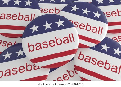 USA Sports Badges: Pile of Baseball Buttons With US Flag, 3d illustration